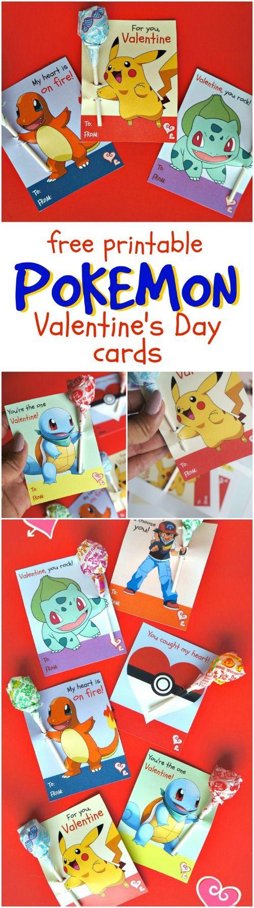这些免费的可打印的口袋妖怪情人节贺卡与棒棒糖是如此有趣的孩子们传递给朋友,与你最喜欢的口袋妖怪角色!