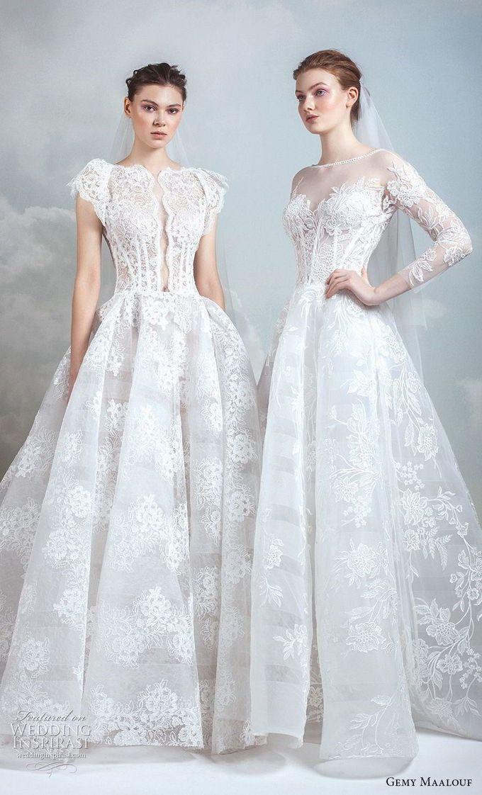 gemy maalouf 2019新娘短蝴蝶袖bateau颈部全点缀公主舞会礼服一线婚纱(12)mv  -  Gemy Maalouf 2019婚纱礼服  Pinkoi婚礼Inspirasi #wedding #weddings #bridal #weddingdress #bride~