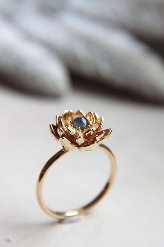 Prepayment for rose gold moonstone lotus ring, size 7 1/2