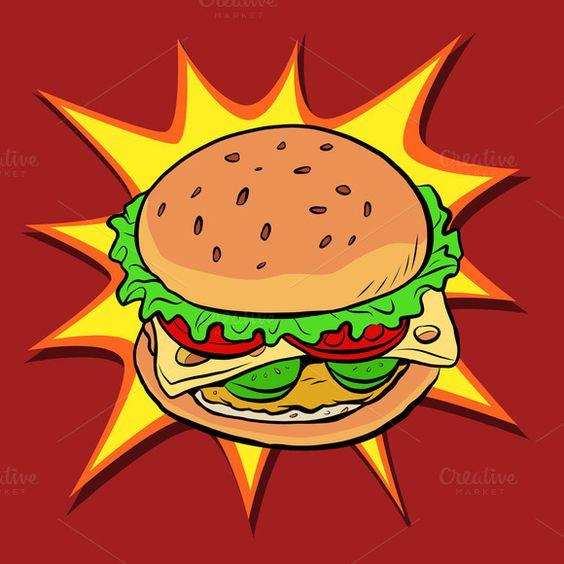 汉堡快餐复古波普艺术波普艺术复古矢量。面包奶酪番茄肉饼。餐馆和食物