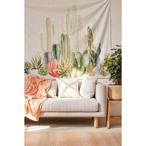 Cactus Landscape Tapestry(3,155 INR)❤喜欢Polyvore,包括家居,家居装饰,墙艺术,都市户外用品,仙人掌家居装饰,风景墙艺术,都市户外用品墙艺术和仙人掌墙艺术