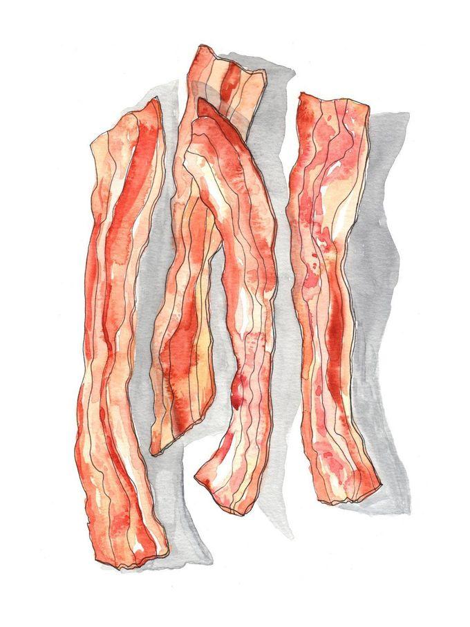 Bacon Watercolor Print
