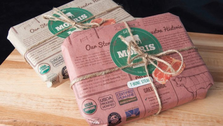 Great meat packaging design. This would be a great packaging idea for a local butcher shop.