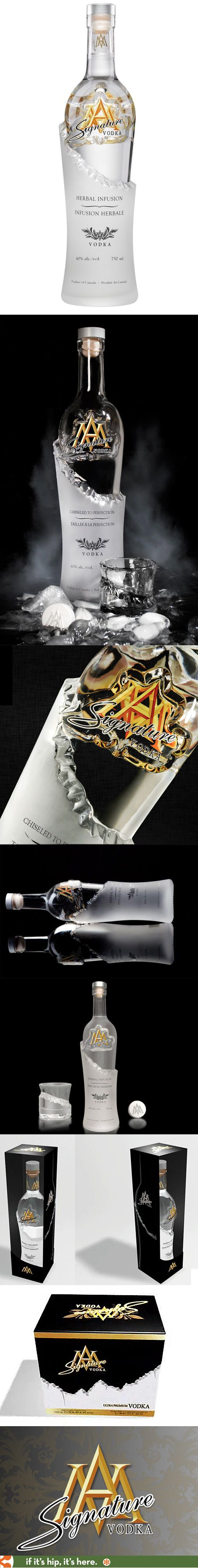Signature Vodka (herbal-infused) in an unusual chiseled bottle design.