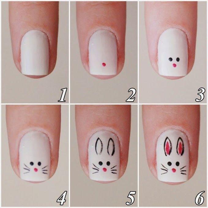 Rubia Olivo:教程:Bunny #nail #nails #nailart指甲设计,美甲,美甲沙龙,欧文,纽波特海滩