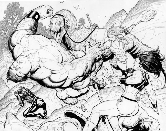 Lady Hellbender, Totally Awesome Hulk #1, Page 28-29 Comic Art DPS by Frank Cho