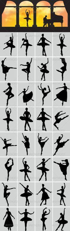 这是芭蕾舞蹈家矢量剪影。在这个文件中包括AI和EPS版本。您可以使用Adobe Illustrator CS和其他支持矢量的应用程序打开它。访问我的剪影集合http://graphicriver.net/collections/3119286-silhouettes
