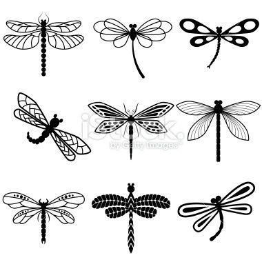 蜻蜓,白色背景上的黑色剪影。向量