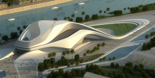 Zaha Hadid - Le grand Théâtre de Rabat (nombreux studios créatifs et deux salles de concert, de 2050 et 520 places, un théâtre de verdure de 7000 personnes)