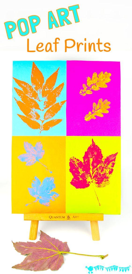 """孩子们会喜欢用这种POP ART LEAF PRINTING技术制作充满活力的叶子艺术。它需要从""""meh""""到""""WOW!""""的经典叶子印刷活动。"""