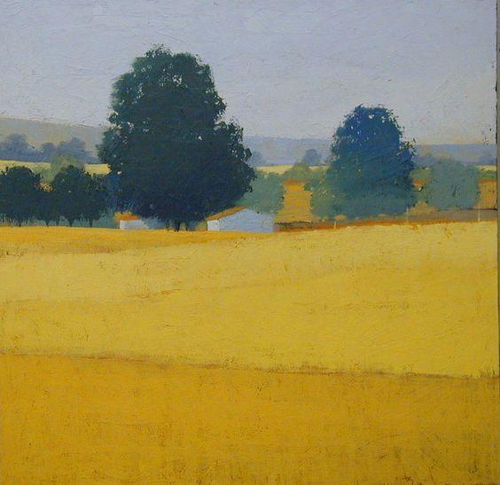 黄色的田野:风景画:风景,保罗·巴尔默