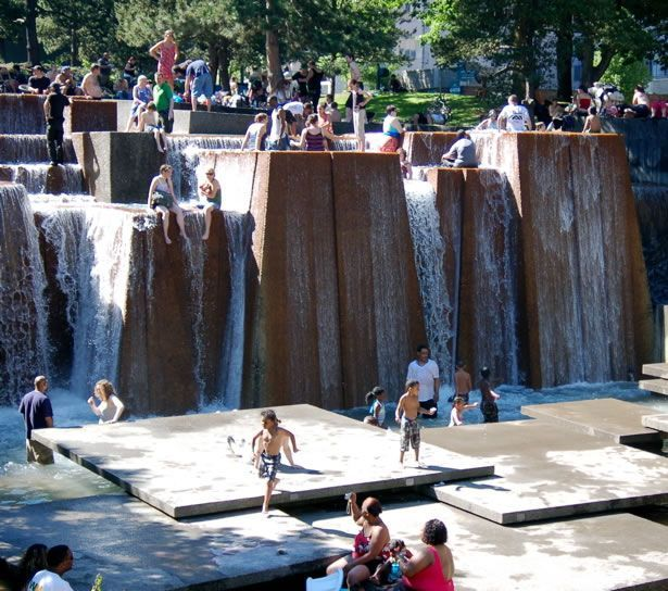 Ira Keller Fountain (also known as the people's fountain) in Portland Oregon. Designed by Lawrence Halprin