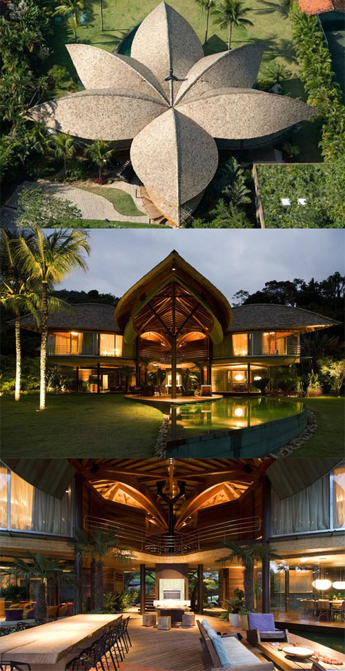 The Leaf House, a tropical beach house designed by Mareines + Patalano Arquitetura in Angra dos Reis, Rio de Janeiro, Brazil. The Leaf House was inspired by Brazil's Indian architecture.The roof acts as a big leaf it protects from the hot sun all enclosed spaces of the house,  verandas & in-between open spaces.    Rain water is harvested from the roof for re-use. With its natural finishes, organic aesthetics and richness of details, the house is in harmony with the exuberant Brazilian nature.