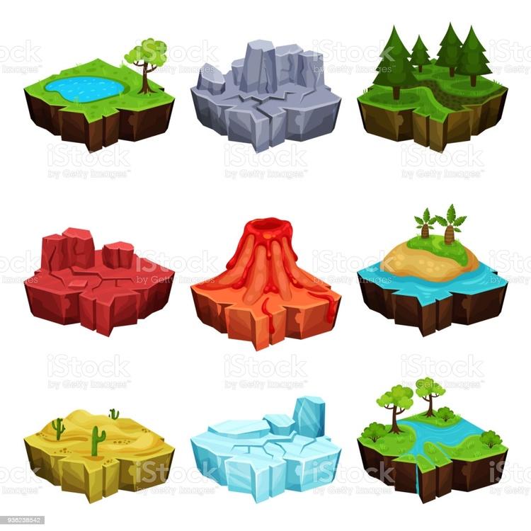 Fantastic Islands for Game Design Set, Desert - Vector EPS