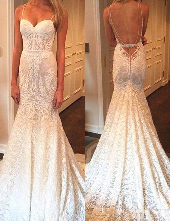 美人鱼露背意大利面条长长的蕾丝婚纱与珠饰