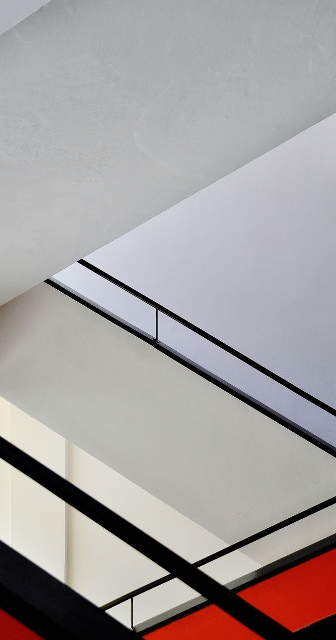 A staircase in the Bauhaus school of design, Staatliches Bauhaus, in Dessau, Germany.