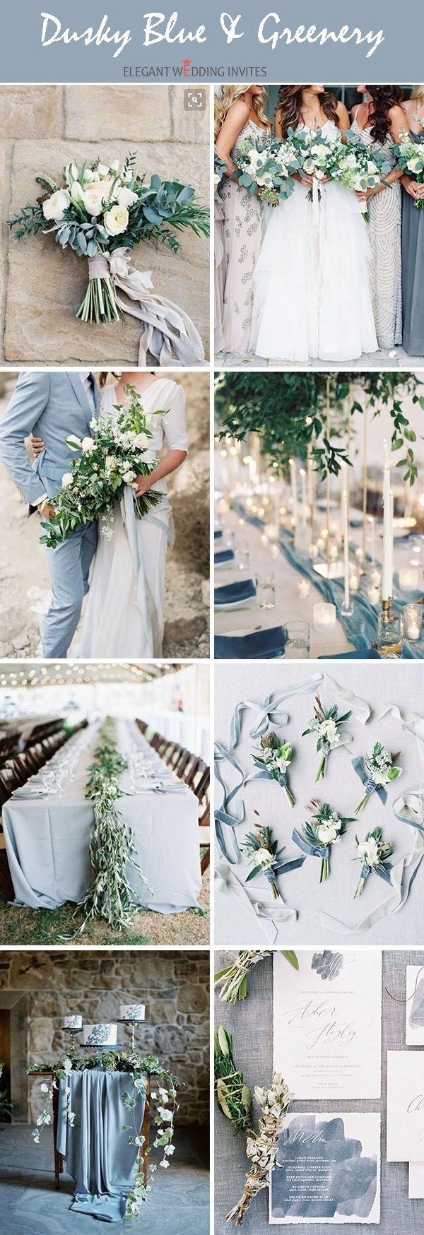 昏暗的蓝调中性色调有机婚礼调色板的想法适合所有季节