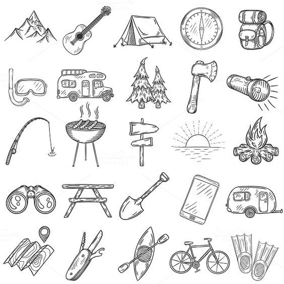 Set of doodle camping icons