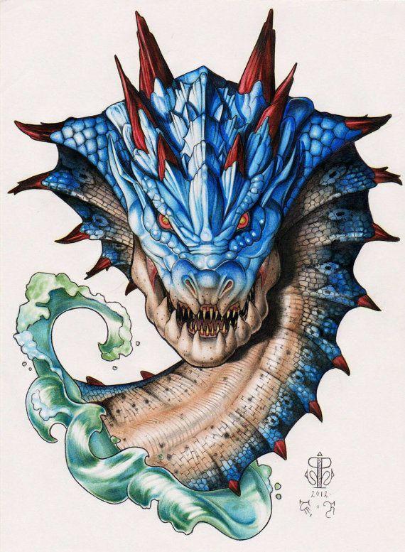 SALE! Monster Hunter Lagiacrus Dragon - By Ashley Hall - ORIGINAL PAINTING Not Just A Print - Capcom Game Art