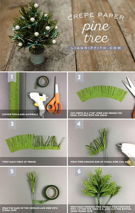 为您的假日和冬季家居装饰制作一套小型绉纸松树。使用厚重的植物绉纸,质地华丽。