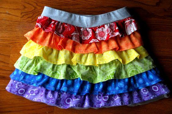 我为Kenzie即将举行的彩虹生日派对制作了这条彩虹荷叶边裙。