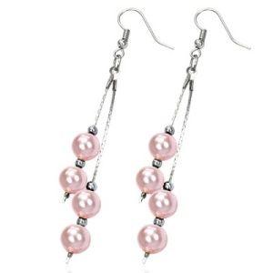 PINK彩色珠饰耳环梦幻般的长吊珠饰耳环,金属粉色珠子。耳垂约75毫米悬挂。伟大的礼物和梦幻色彩!有关