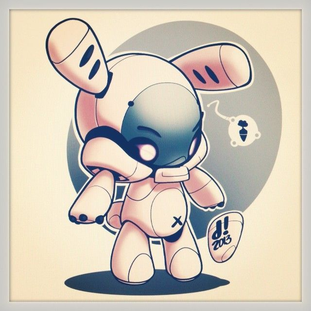 'Bunbun Robo' Playing with random shapes last night and found this little guy. Added colour this morning - by Dacosta!