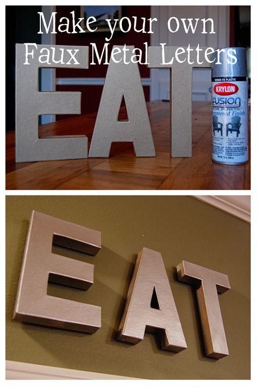 你好! Marji在这里有一个有趣和简单的工艺。我喜欢在装饰中使用字母组合字母。我总是在寻找不同的字母。我在Anthropoligie看到了这些金属锌字母并且很喜欢它们,但不喜欢18美元/字母的价格标签。这会打击我的每月预算。 {picture source}