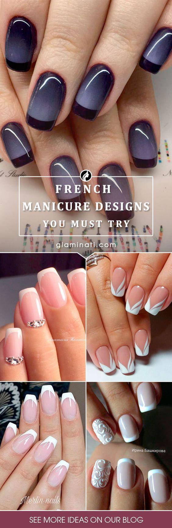 法国美甲修指甲的设计本季更为复杂。点击查看我们最喜欢的法式美甲设计。