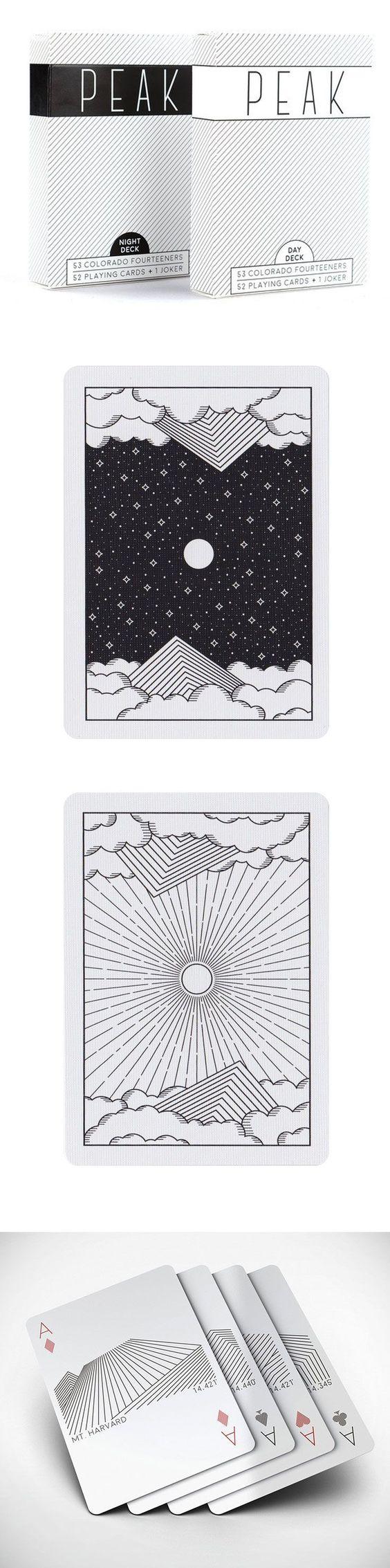 """通过53张定制设计的扑克牌来庆祝科罗拉多53""""14ers""""(海拔14000英尺或更高的山峰),以达到顶峰。从青山(14,279')到山顶巨大的(14,421'),所有五十二张标准扑克牌和一张小丑以十四人之一的极简主义画像,以及高峰的名字和海拔为特色。还包括以红岩为特色的小丑。卡背和折裥箱 - 也许是甲板上最引人注目的元素 - 已被说明与同样简约的高山场景。从Day Deck或Night Deck中选择并开始计划下一次冒险。详细信息所有53 14岁儿童的定制插图52张标准扑克牌加上两个笑脸和一张空白纸由美国高品质扑克牌打印扑克牌公司在Kickstarter上成功获得资金"""