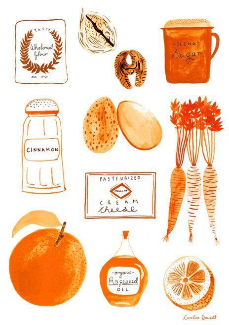 """"""" eatsleepdraw: """" The makings of a tasty Carrot cake! by hellocarolinedowsett.tumblr.com www.carolinedowsett.co.uk """" """""""
