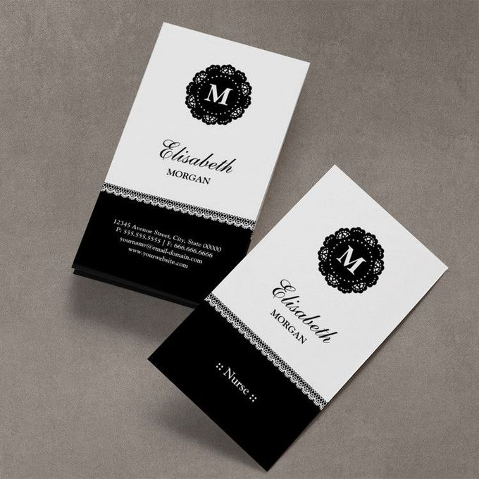 Nurse Elegant Black Lace Monogram Business Cards. You can customize this card with your own text, logo, photo, or use this pre-existing template for FREE.