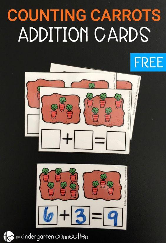 用这些免费的可打印胡萝卜计数加法卡添加练习!实践数学动手,没有定时测试或闪存卡。