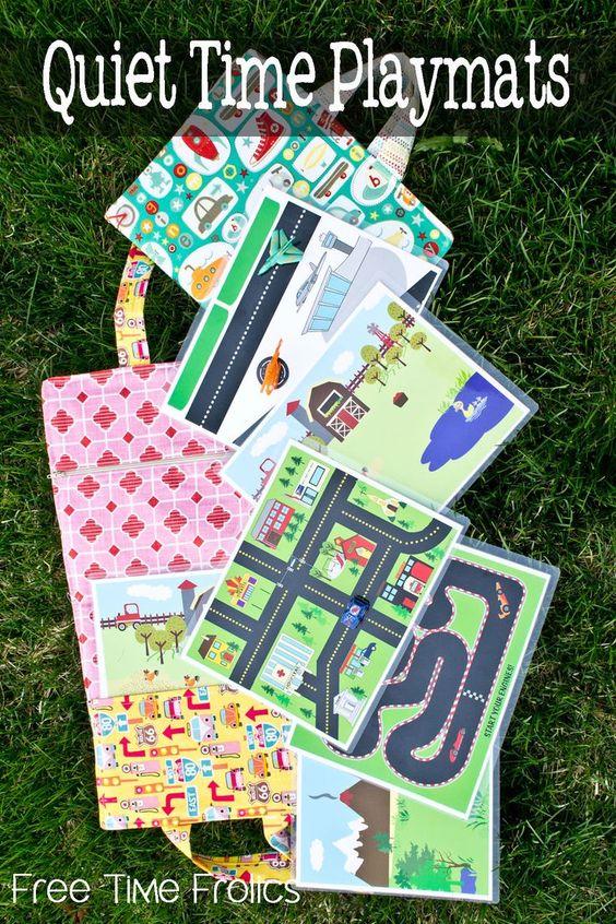 免费打印安静时间和旅行游戏垫为所有想象力的孩子。只需打印和使用飞机或乘车,安静的时间或教堂。