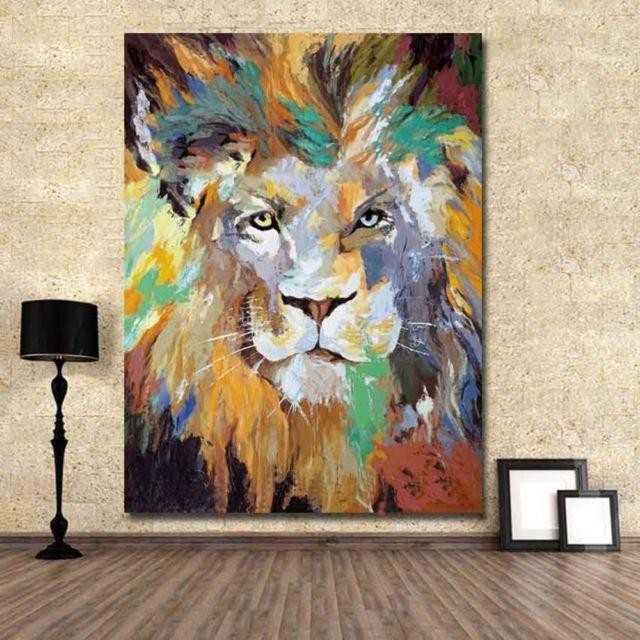 新手绘抽象油画/亚克力帆布绘画墙波普艺术狮子动物