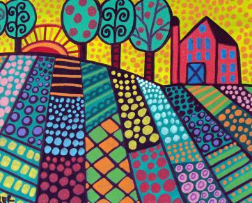 明亮的风景 - 使用图案和线条创建民间艺术风格/布里托风景