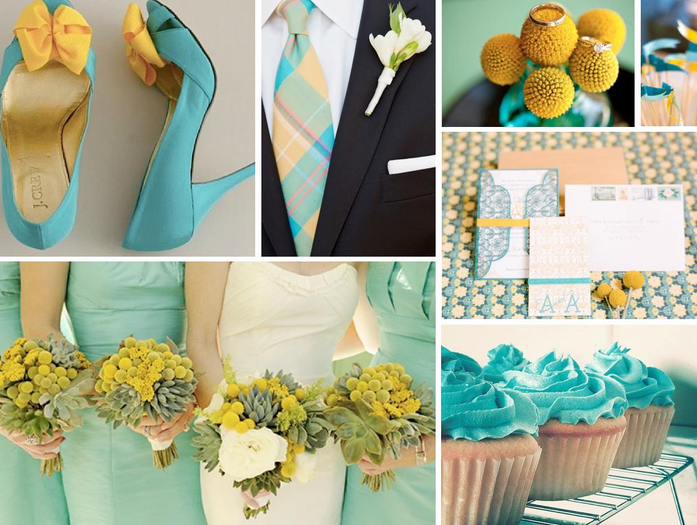 水族和黄色婚礼; aqua cupcakes,J.CREW浅绿色和黄色的鞋子,海泡沫伴娘礼服,黄色比利纽扣花。