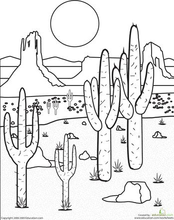 这个沙漠景观着色页充满了大大小小的仙人掌植物,以及壮观的自然形态。