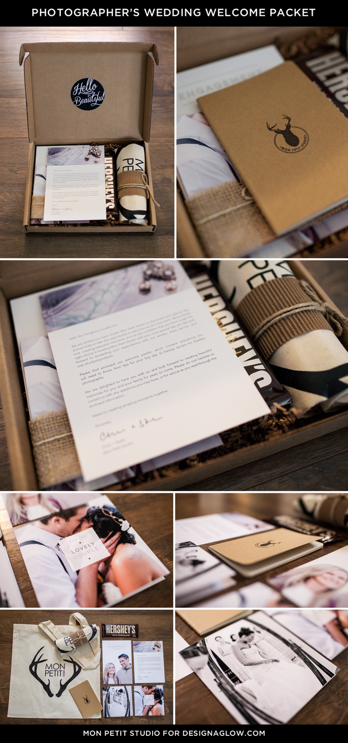 Love how Mon Petit Studio used our Wedding Welcome Packet! (And included chocolate - yum!) #designaglow