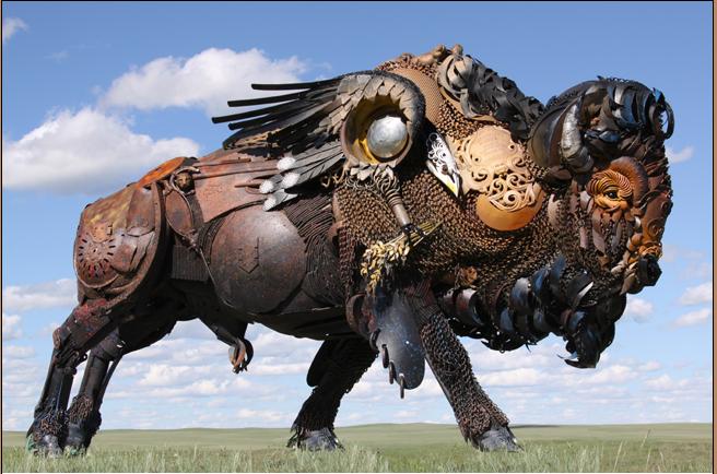 Scrap metal art by John Lopez