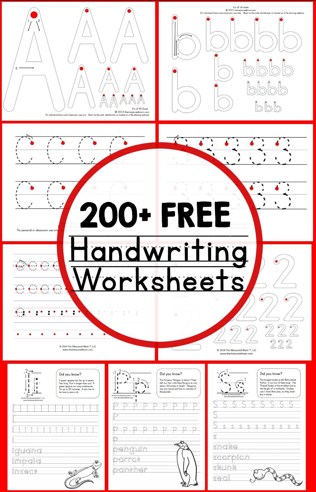 寻找教学手写的免费工作表?你可以在The Measured Mom找到它们。