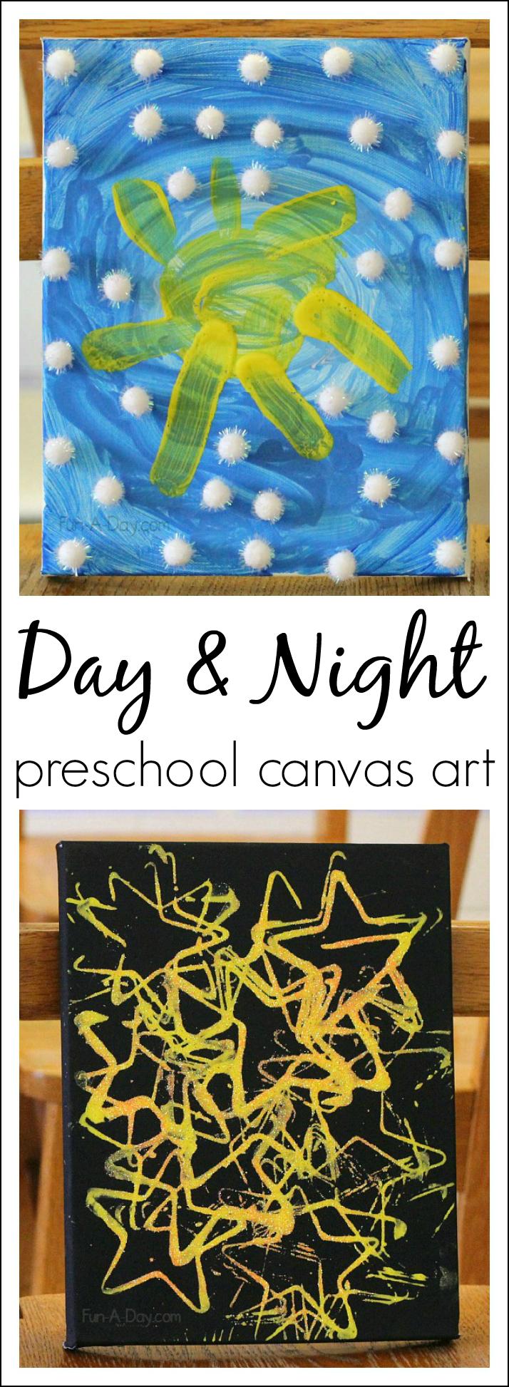 学龄前儿童的日夜艺术有助于儿童用艺术探索科学概念!比较和对比白天和夜晚的天空。