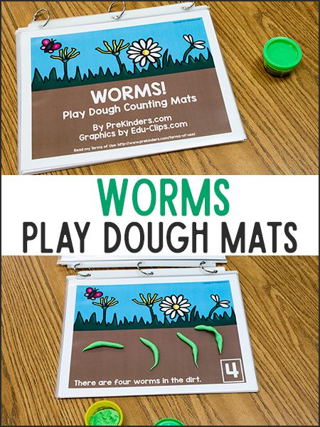 这些蠕虫玩面团数学垫会让你的学龄前儿童爱上练习计数!打印垫子,用于发挥面团的精细电机和数学...