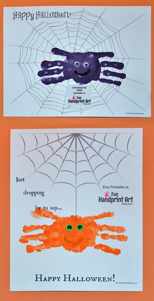 使用这些免费的可打印蜘蛛网来创建万圣节卡片。孩子们将喜欢用手印蜘蛛进行个性化设计!也是一个伟大的纪念品。