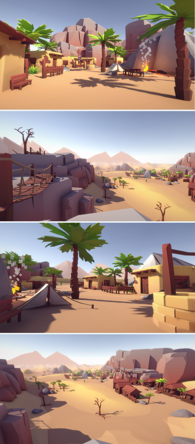 Lowpoly Style Desert Pack Build your own Desert or WildWest levels and landscapes with this asset pack! The demoscene  is also included, everything has a fitting collider - just drag'n'drop the assets to your level. The pack contains a lot of assets: Plants, Rocks, Mountains, Sand Dunes, Buildings, Camps & Tents, Walls / Pallisades, Particle Effects and much more. Everything shares one material and one texture, so everything can be batched together to save draw calls. Unity 3D Game