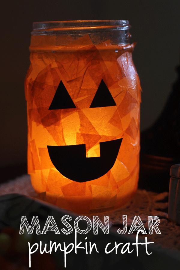 可爱的梅森罐子万圣节工艺为孩子或成人。