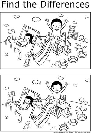 在这个可打印的儿童着色页中,在操场上玩耍的孩子们的两张照片之间可以找到几个不同之处。