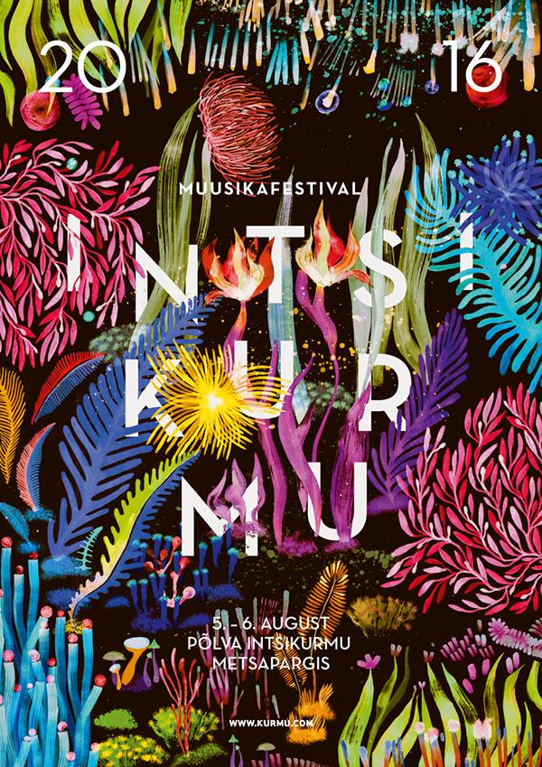 Intsikurmu music festival 2016 illustration on Pantone Canvas Gallery                                                                                                                                                                                 More