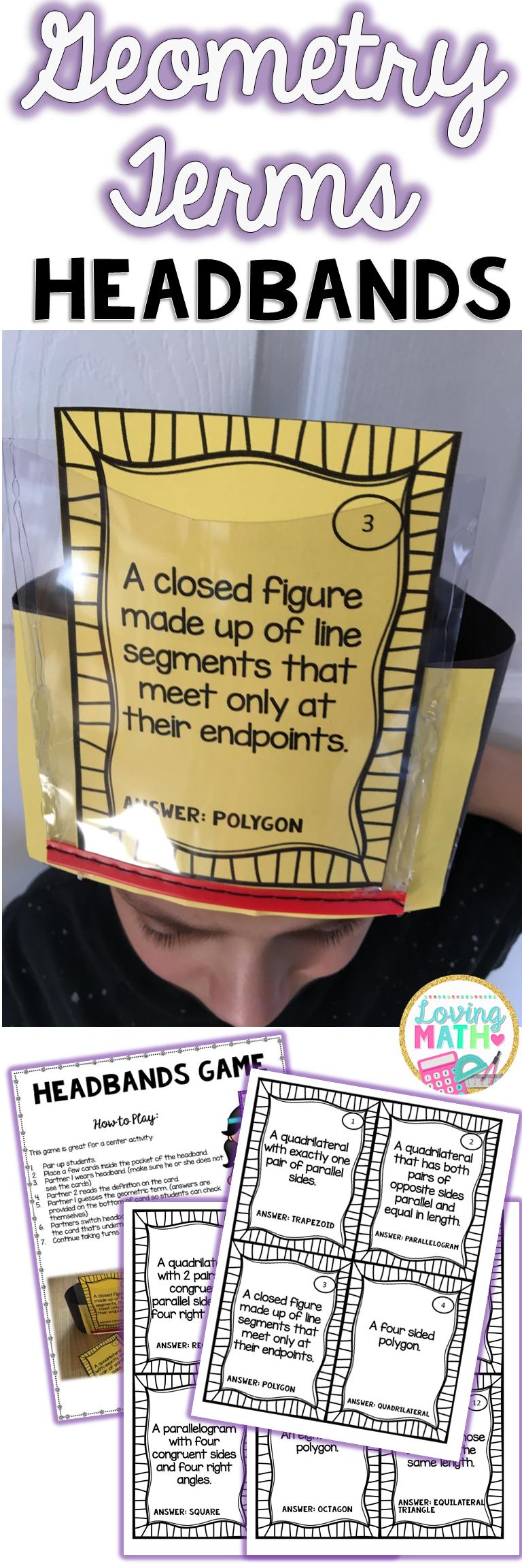 这个资源是练习几何术语的数学中心游戏。它符合3-5年级的通用核心标准。学生与一位戴着头带的伴侣一起工作,另一位伴侣阅读定义。 ♥此资源包括:♥◊24卡◊关于如何创建头带的说明◊如何玩的指导♥您可以找到以下几何术语:♥梯形◊多边形◊四边形◊矩形◊菱形◊正方形◊五角形◊六角形◊七边形◊八边形◊等边三角形◊等腰三角形◊三角形◊直角三角形◊锐角三角形◊钝角三角形◊直角锐角◊钝角◊点◊线◊线段◊射线♥节省金钱....