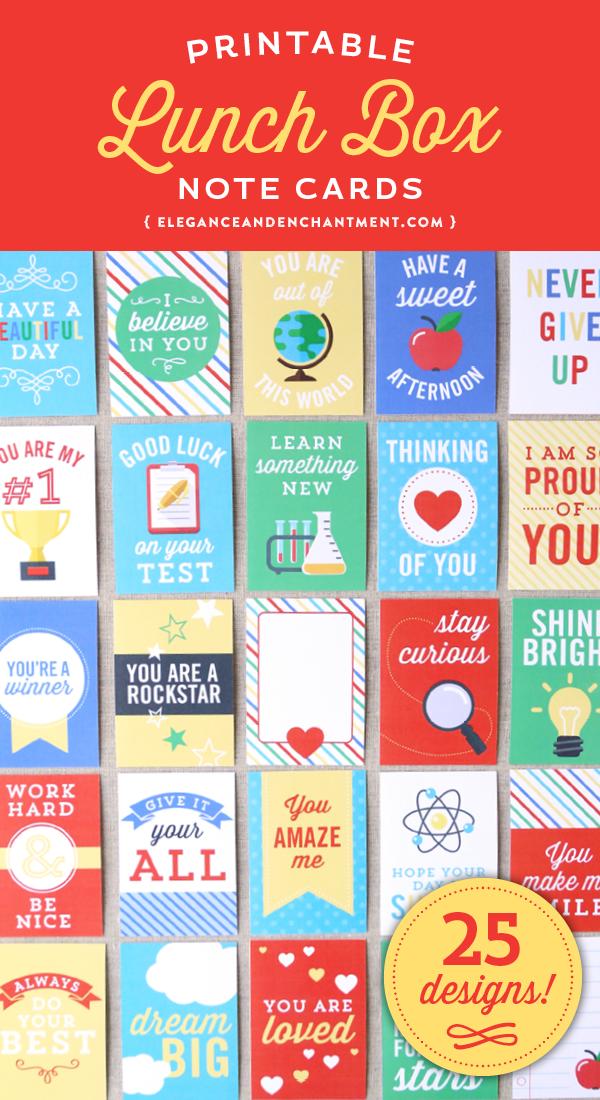 为您孩子的午餐盒提供25张可打印的便条卡。让他们一年四季都笑着鼓励。